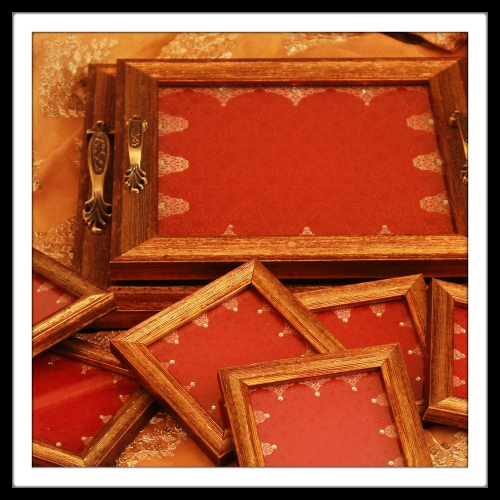Royal Red  Tray and Coasters - Footprints Forever
