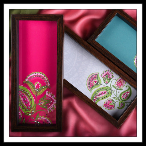 Handmade pink, white and green multipurpose hand embellished trays