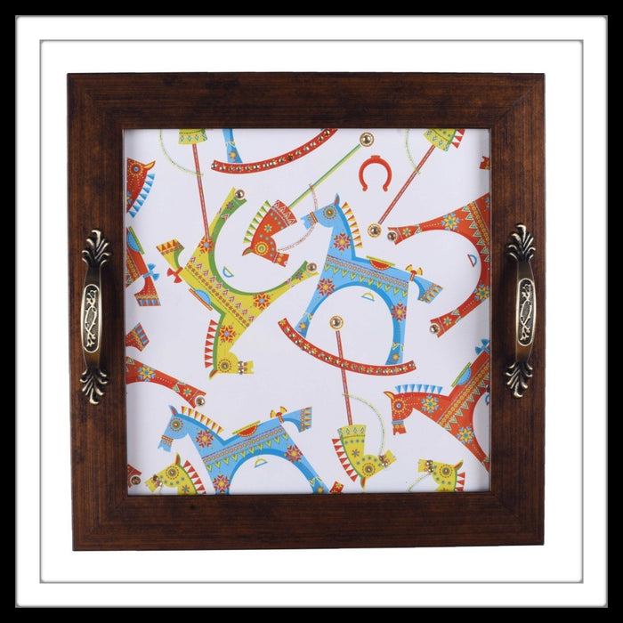 Colourful rocking horses  print bedazzled handmade tray for home and gifting