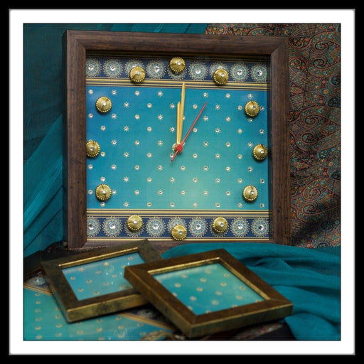 Bedazzled Blue Tray, Clock and Coasters Set - Footprints Forever