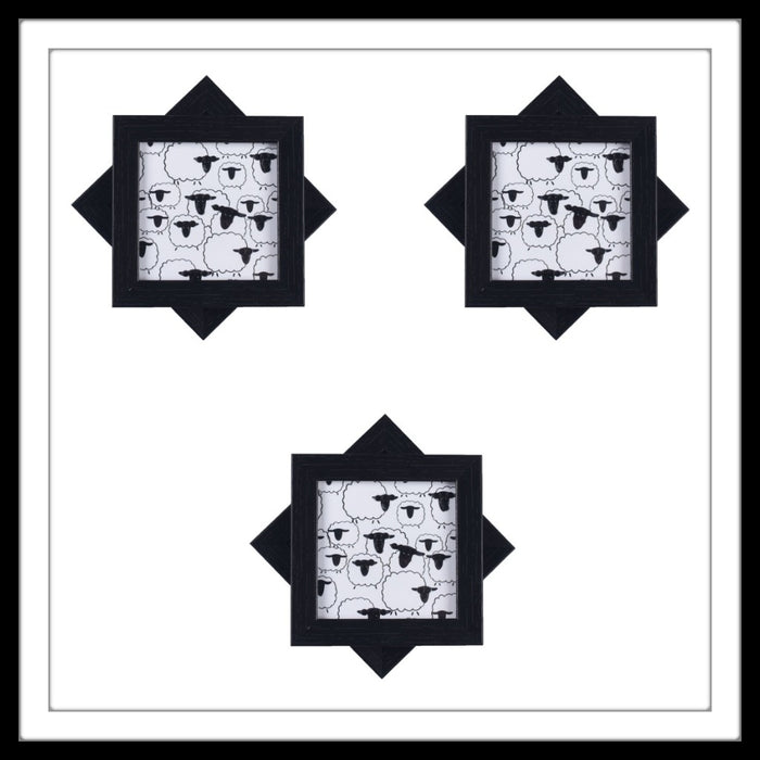 Handmade black and white coasters set with sheep print and crystal work, suitable for gifting and weddings