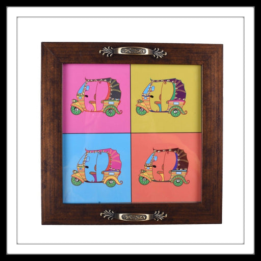 Handmade wooden bright tray with the image of tuk-tuks,