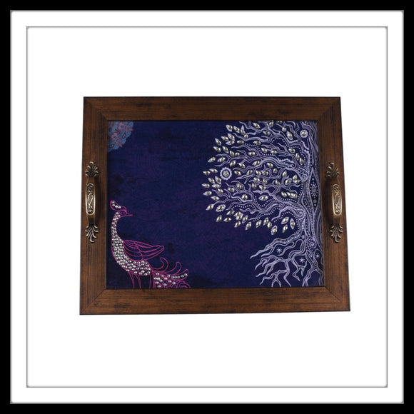 peacock under a tree print bedazzled rectangular tray