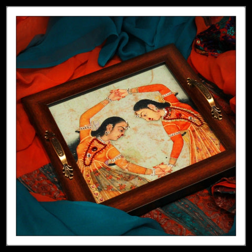 Mughal Dancing Girls Square Tray - Footprints Forever