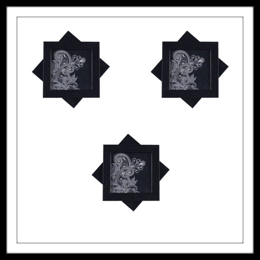 Black and White Paisley Coasters - Footprints Forever
