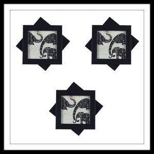 Handmade wooden black and white coasters set with elephant family print and crystal work, suitable for gifting and weddings