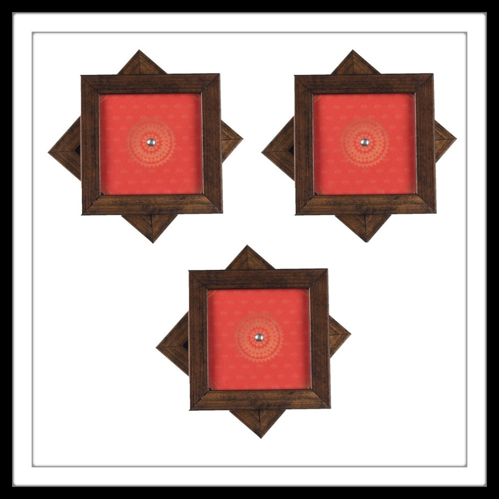 Handmade wooden orange coasters set with mandala print and crystal work, suitable for gifting and weddings