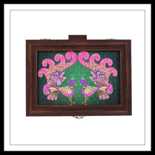 green and pink peacock pair print rectangular box for home decor and gifting