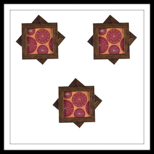 Handmade wooden pink and yellow coasters set with mandala print and crystal work, suitable for gifting and weddings