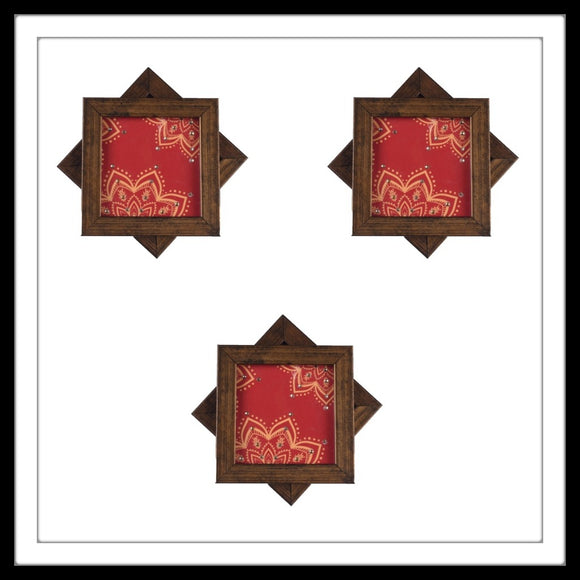 Handmade wooden 6 coasters set with red and yellow henna print and crystal work, suitable for gifting