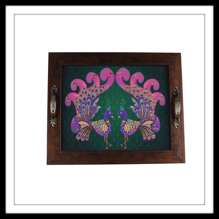 green and pink peacock pair print rectangular tray for home decor and gifting
