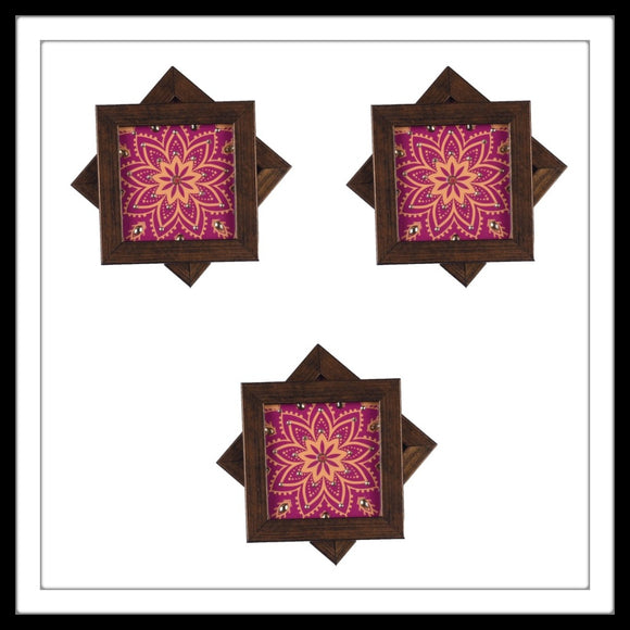Handmade wooden 6 coasters set with mauve and yellow print and crystal work, suitable for gifting