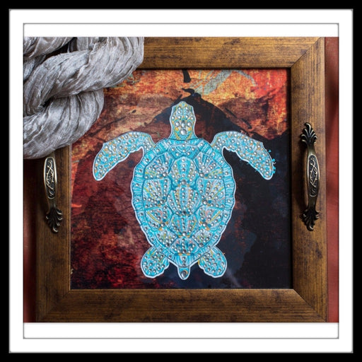 Abstract Background Turtle Square Tray