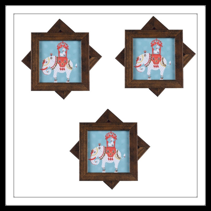 White and Blue Maharaja on Elephant Coasters - Footprints Forever