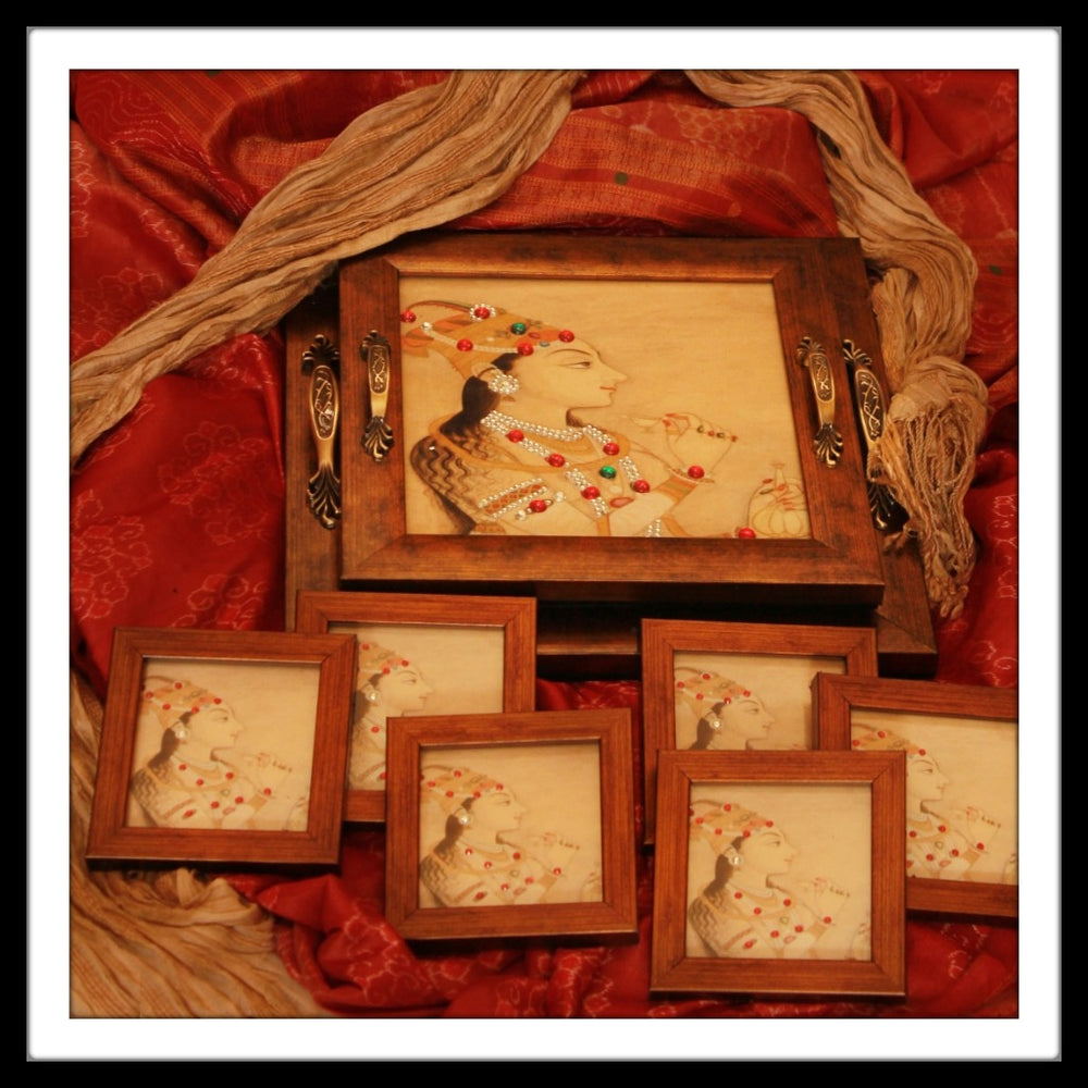 Mughal Queen Tray and Coasters - Footprints Forever