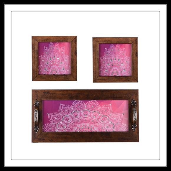 PINK FLORAL TRAY & 2 COASTERS SET