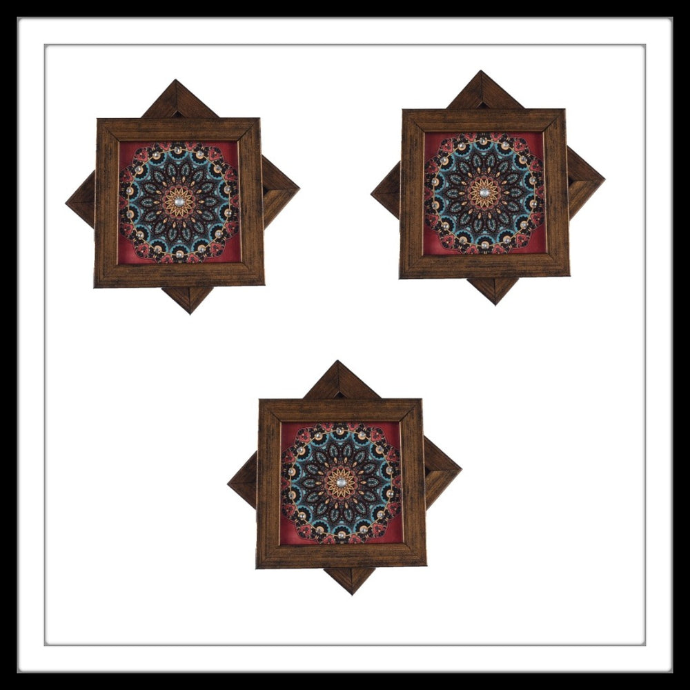 Handmade wooden 6 coasters set with maroon mandala print and crystal work, suitable for gifting