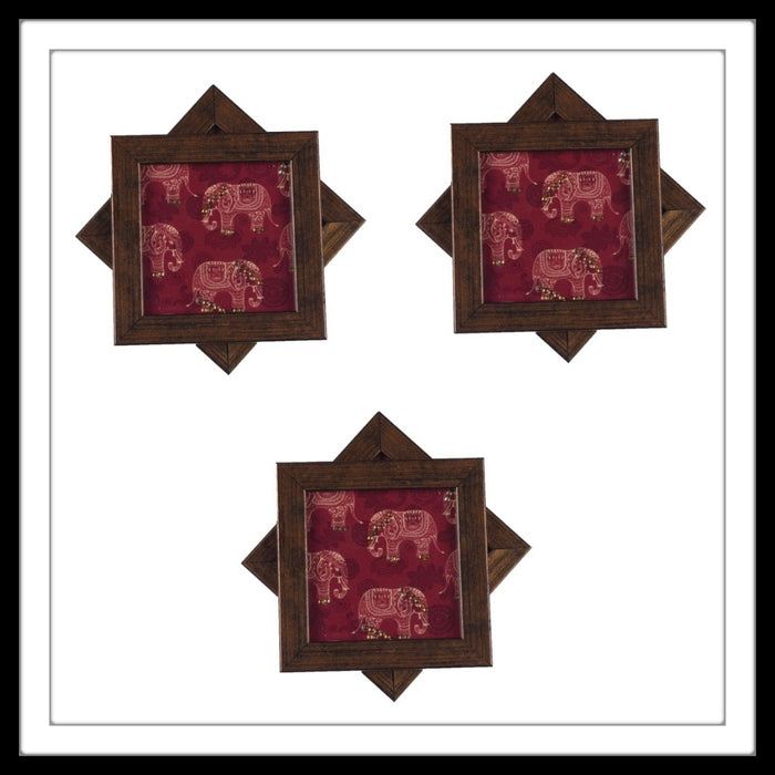 Handmade wooden 6 coasters set with red multi elephants print and crystal work, suitable for gifting