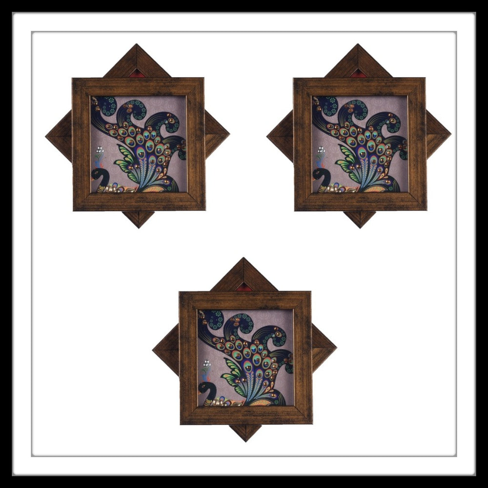 Handmade wooden 6 coasters set with  multi colour peacocks print and crystal work, suitable for gifting