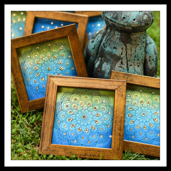 green and blue mandala print coaster set of six