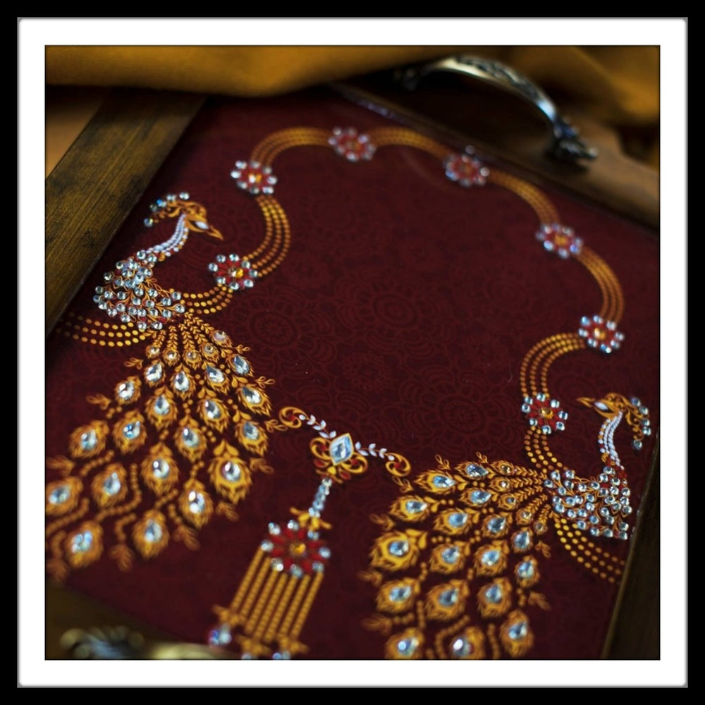 Maroon Peacock Rectangular Tray - Footprints Forever