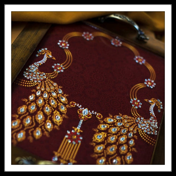 Maroon Peacock Rectangular Tray