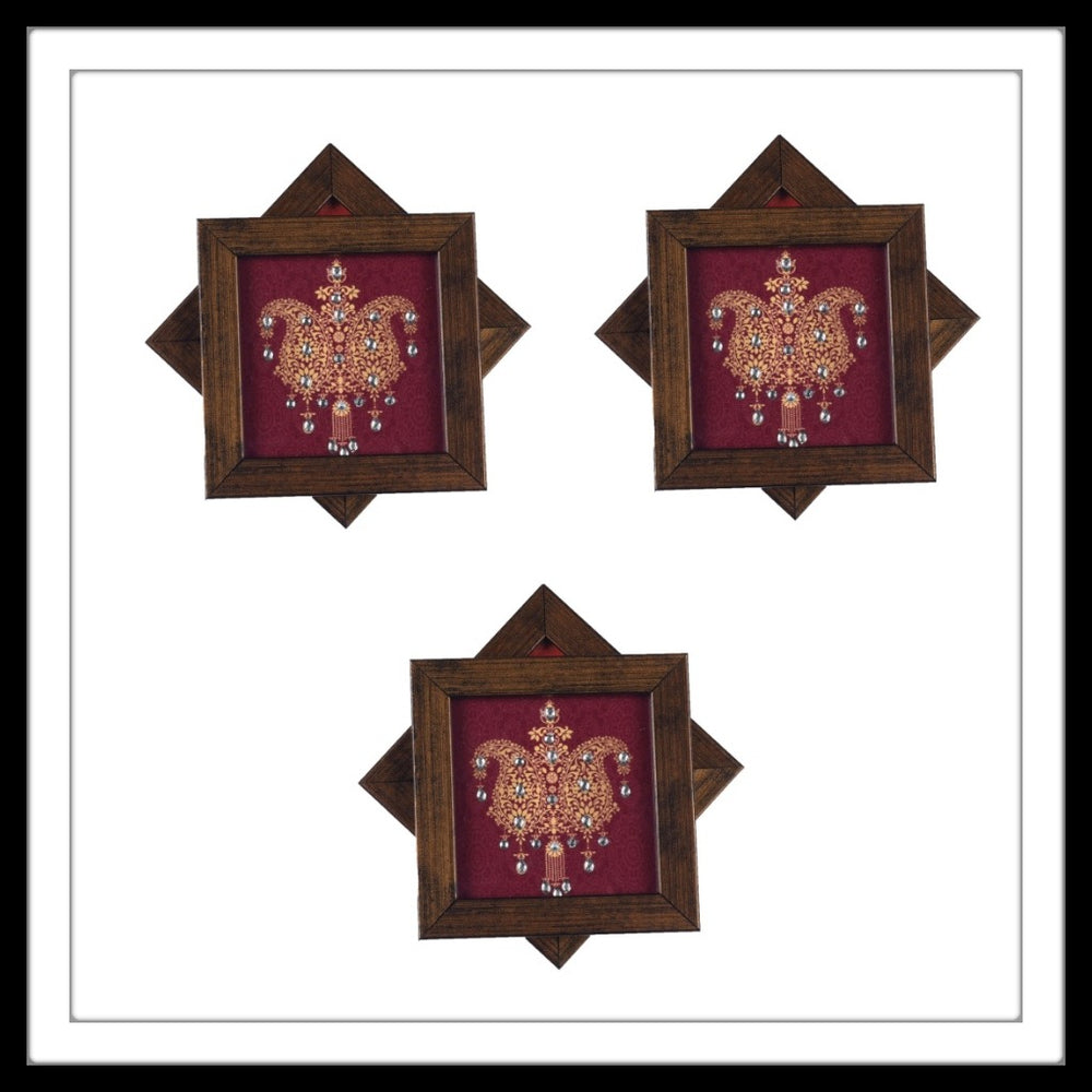Handmade wooden 6 coasters set with maroon paisley print and crystal work, suitable for gifting