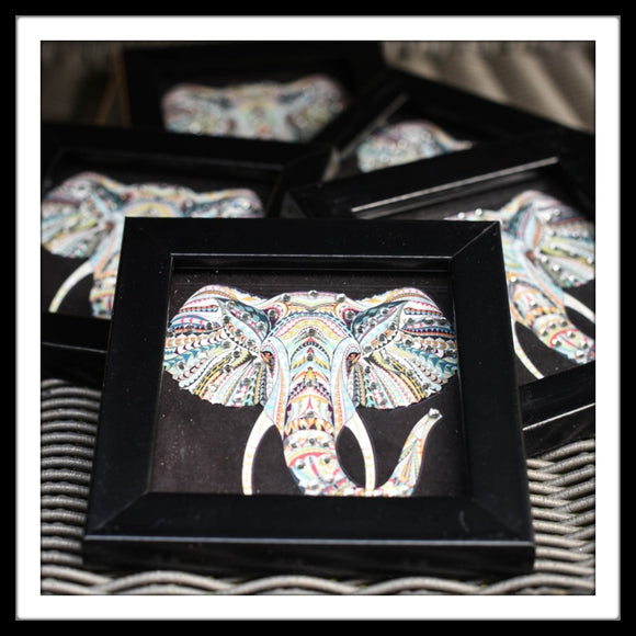 coaster set with black elephant print bedazzled with diamante