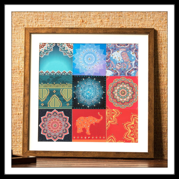 Mosaic wall art with bedazzled elephants and mandala prints for gifting and home decor