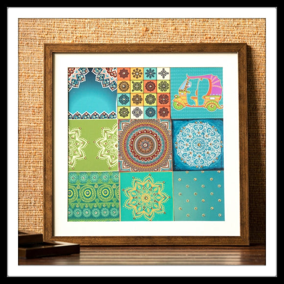 Mosaic wall art with bedazzled tuk-tuk and mandala prints for gifting and home decor
