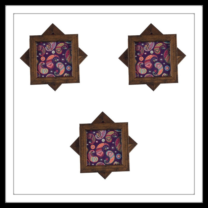 Handmade wooden 6 coasters set with purple multi paisley print and crystal work, suitable for gifting