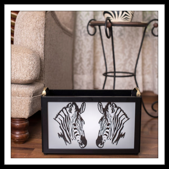 Zebra print handmade black and white magazine rack