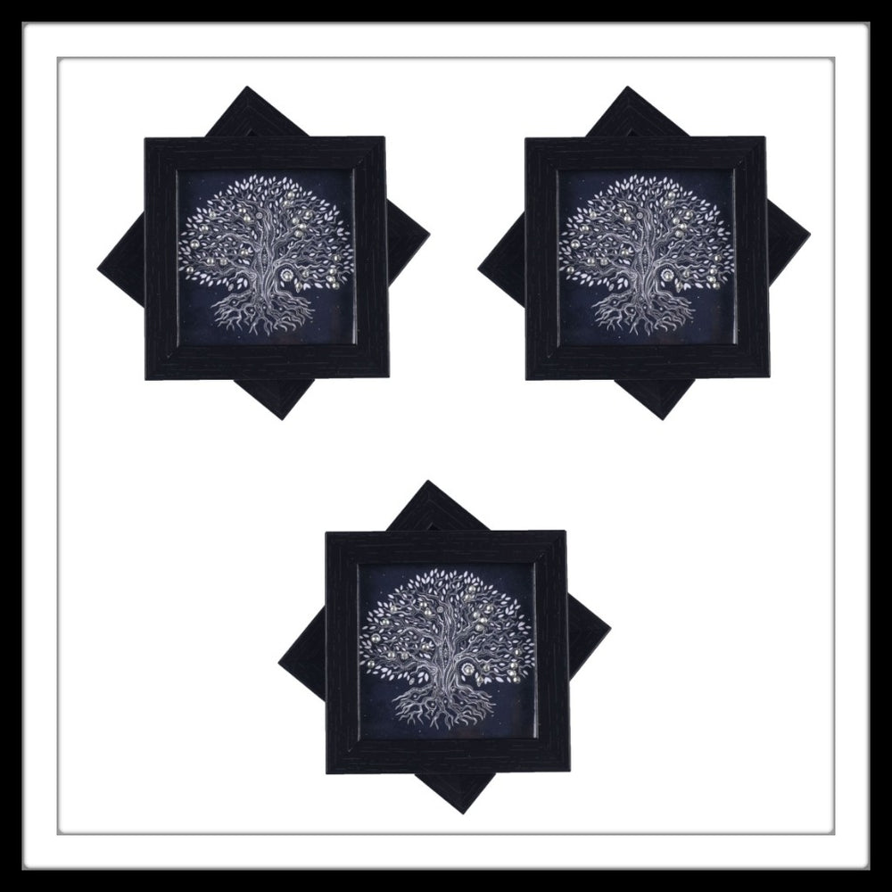 Black Tree of Life Coasters - Footprints Forever
