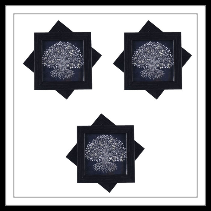 Handmade wooden 6 coasters set with black tree of life print and crystal work, suitable for gifting