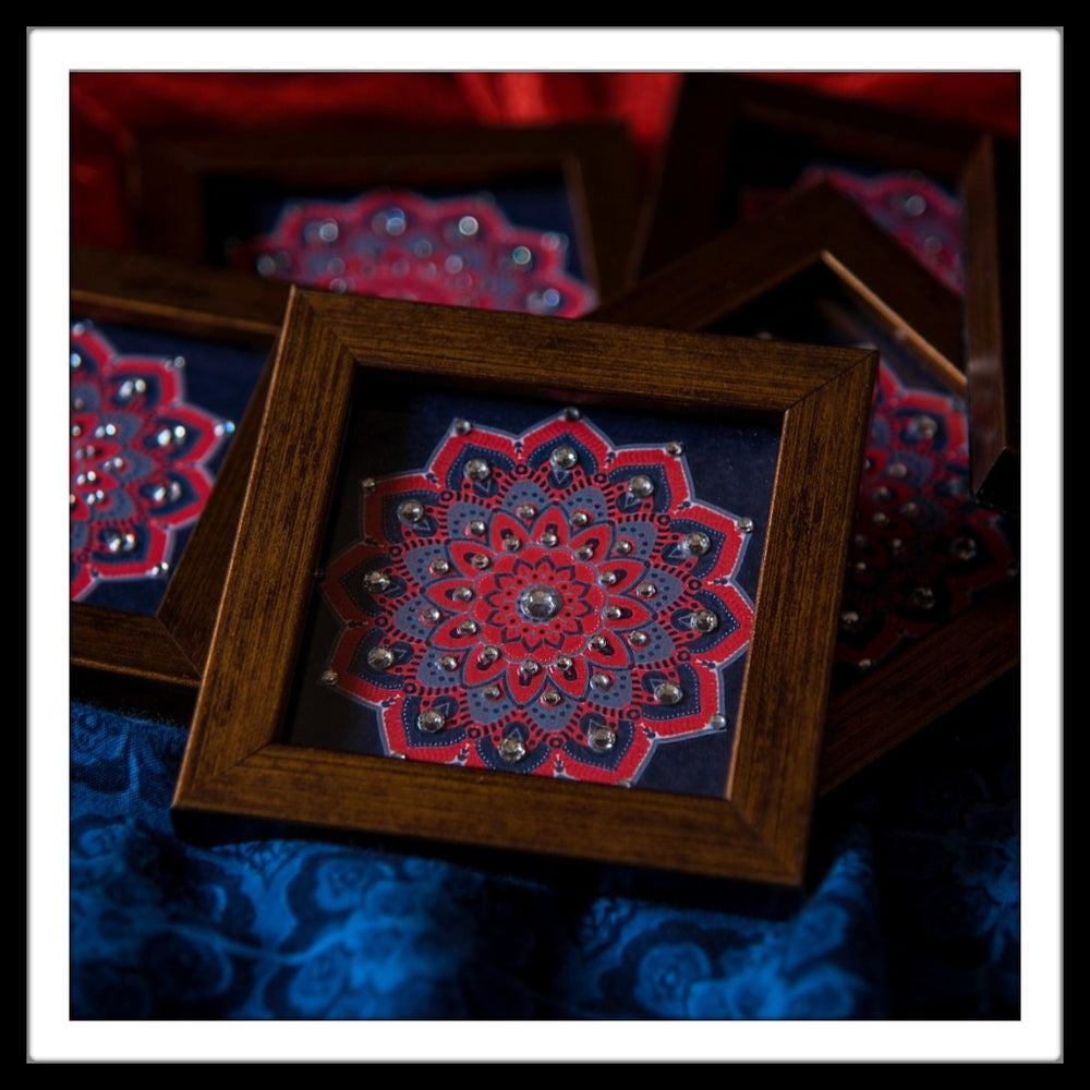Navy Blue and Red Mandala Coasters - Footprints Forever