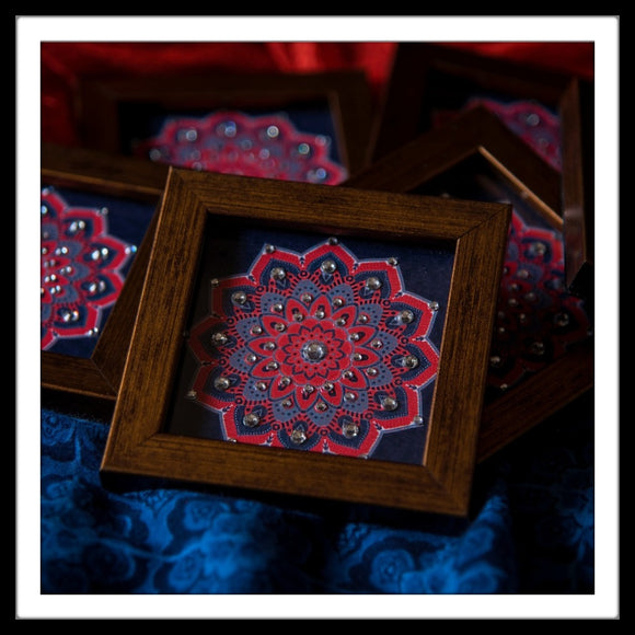 Navy Blue and Red Mandala Coasters