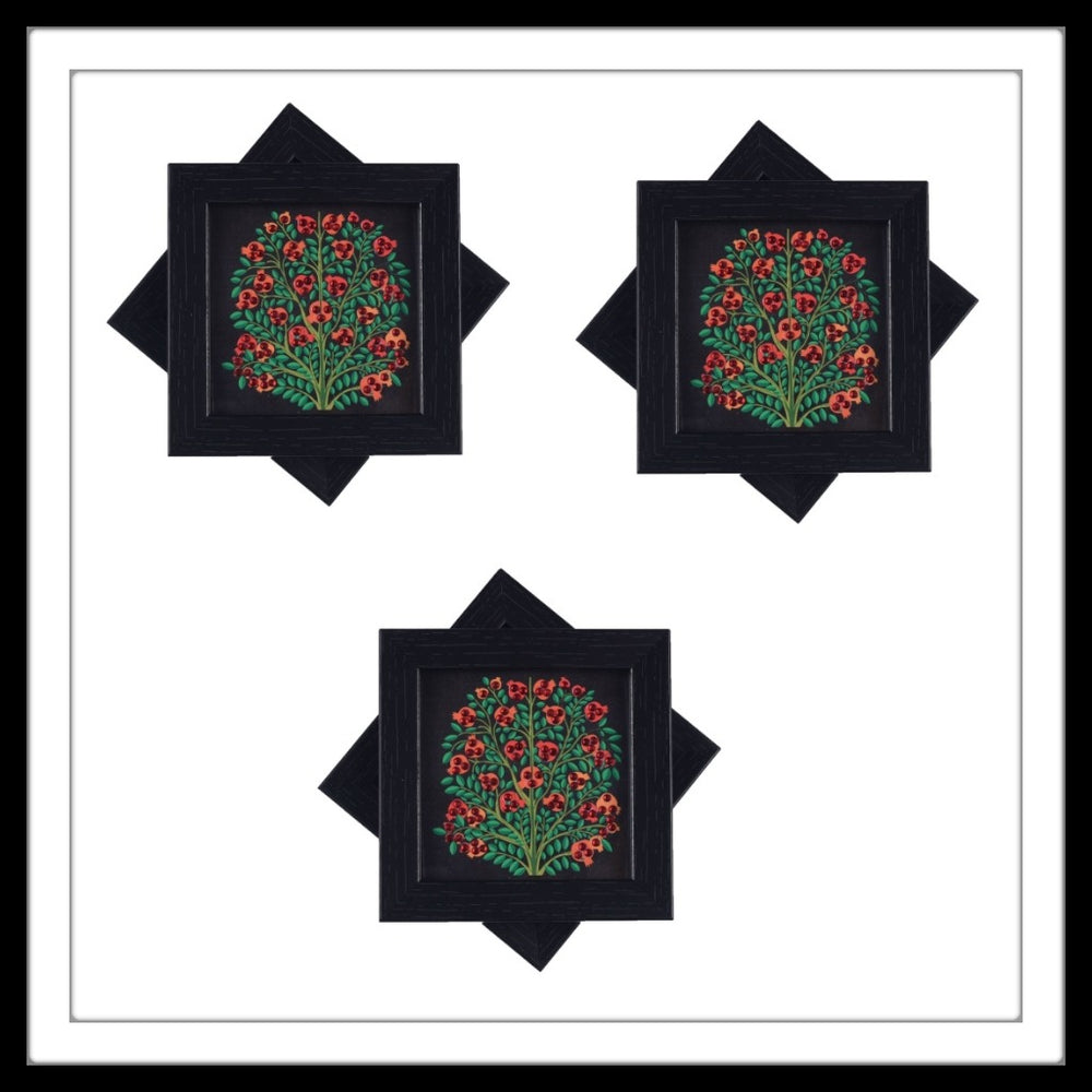 Handmade wooden 6 coasters set with black anar(pomegranate) tree print and crystal work, suitable for gifting.