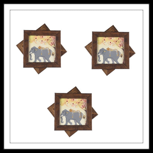Handmade wooden 6 coasters set with cheetah on elephants print and crystal work, suitable for gifting