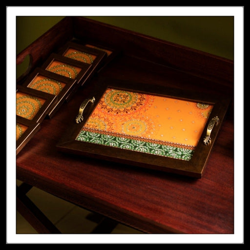 Handmade Yellow and green tray and coasters set with mandala print and crystal work, suitable for gifting and weddings