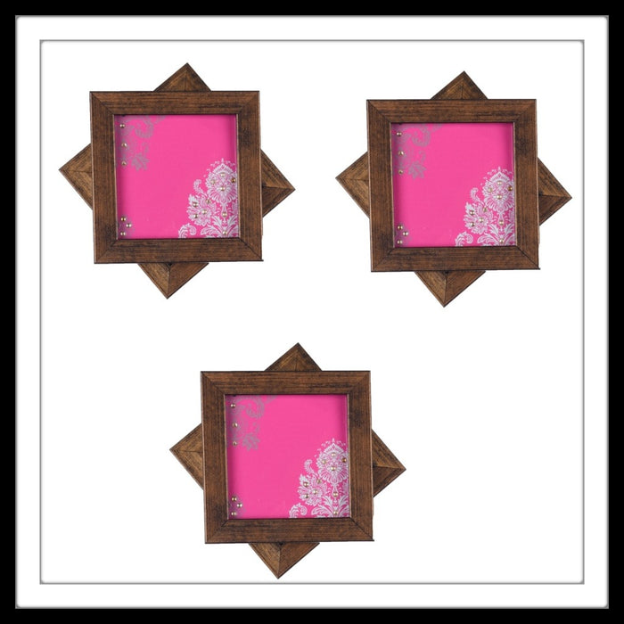 Handmade wooden 6 coasters set with pink damask print and crystal work, suitable for gifting