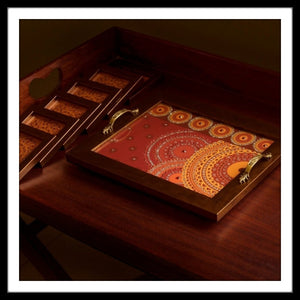 Red Mandala Rectangular Tray and Coasters Set