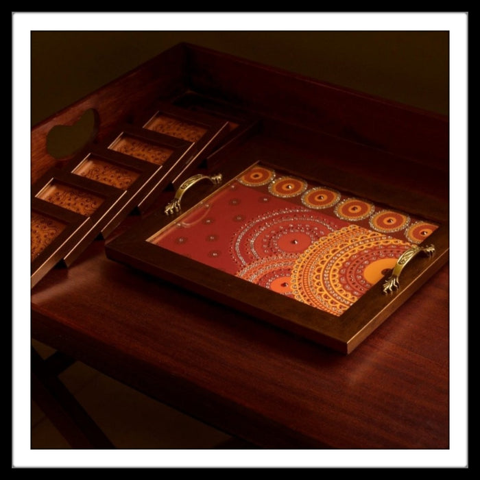 Red and Yellow Rectangular tray and coasters set with mandala print hand embellished and hand made. Ideal for home decor and gifting.