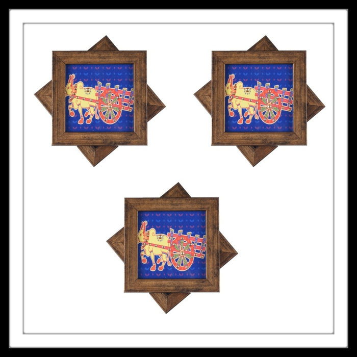 Handmade wooden 6 coasters set with blue buffalo print and crystal work, suitable for gifting