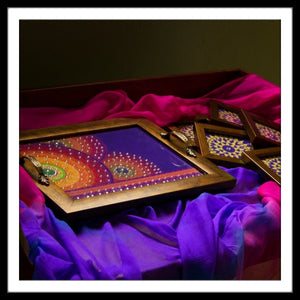 Purple Mandala Rectangular Tray and Coasters Set