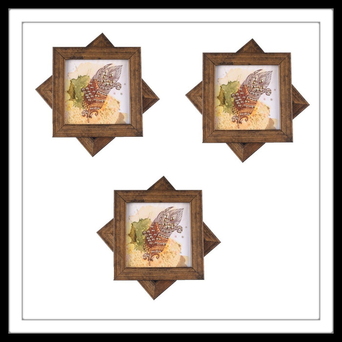 Handmade wooden 6 coasters set with feather print and crystal work, suitable for gifting