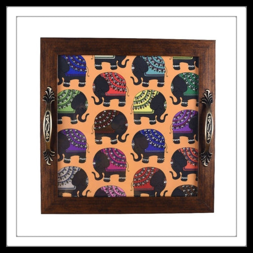 Colourful Elephants Square Tray - Footprints Forever