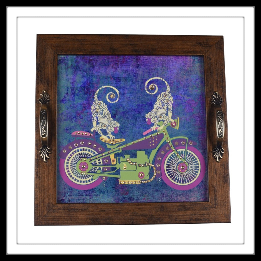 Monkeys on a Bike Square Tray - Footprints Forever