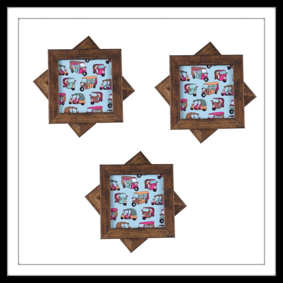 Handmade wooden 6 coasters set with blue multi tuk-tuk print and crystal work, suitable for gifting