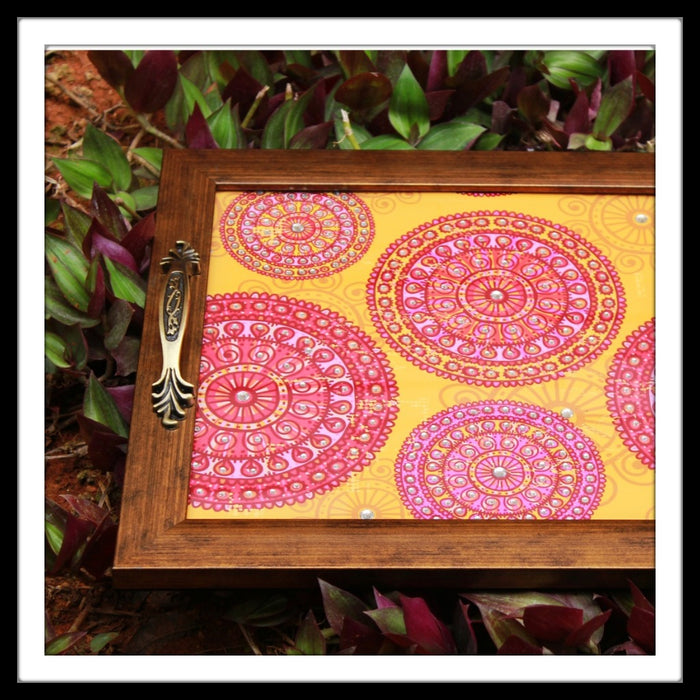 Pink & Yellow Lace Mandala Square Tray - Footprints Forever