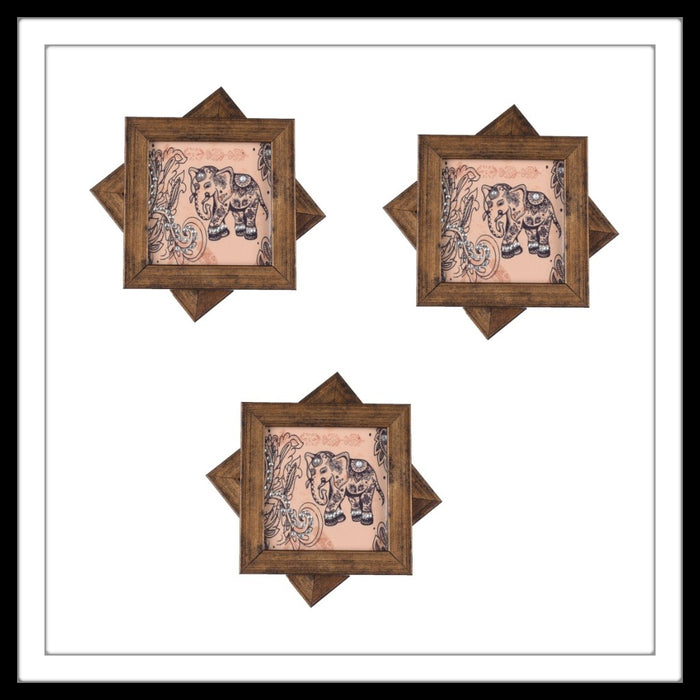 Handmade wooden 6 coasters set with beige and black elephants print and crystal work, suitable for gifting